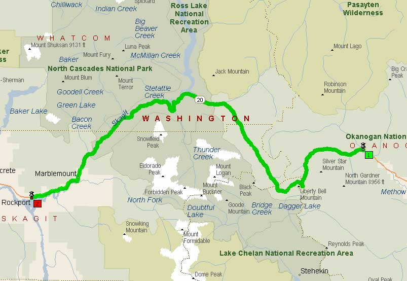 Feathers and Flowers: Behind the Cascade curtain |North Cascades Highway Map